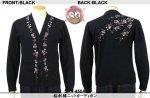 【花旅楽団】桜刺繍ニットカーディガン SKT-450A ブラック/アイボリー/グレー
