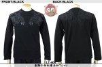 【花旅楽団】唐獅子柄刺繍長袖Tシャツ LT-404 ブラック/アイボリー