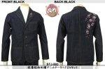 【花旅楽団】桜柄刺繍デニムテーラードジャケット STJ-503 ブラック
