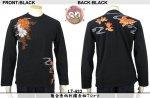 【花旅楽団】菊金魚柄刺繍長袖Tシャツ LT-433 ブラック/アイボリー