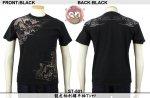 【花旅楽団】龍虎柄刺繍半袖Tシャツ ST-501 ブラック、アイボリー