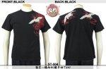 【花旅楽団】菊花に鶴柄刺繍半袖Tシャツ ST-504 ブラック、アイボリー