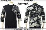 【satori/さとり】波虎柄紋々抜染七分袖Tシャツ GPT-501 ブラック、ネイビー