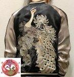【花旅楽団】菊花に白孔雀柄刺繍スカジャン SSJ-011 ブラック