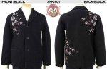 【花旅楽団】桜柄刺繍圧縮ニットテーラードジャケット SFK-501 ブラック/グレー