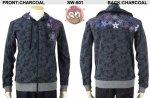 【花旅楽団】幾何学桜刺繍ジャガードジップアップパーカー SW-601 ブラック/ワカクサ