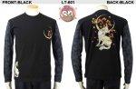 【花旅楽団】月紅葉に狐柄刺繍流水桜ジャガード長袖Tシャツ LT-601 ブラック/アイボリー