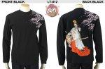 【花旅楽団】桜白拍子柄刺繍長袖Tシャツ LT-512 ブラック/アイボリー