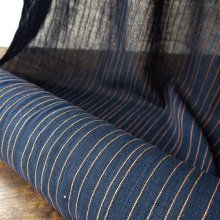 手紡ぎの布 薄手コットン 藍ストライプ