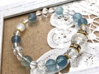 天然石 天使水晶 ブルーフローライト ムーンストーン ブレスレット G