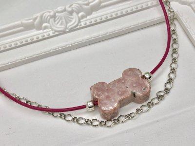 天然石 ジャスパー 犬好き チェーン&革紐 ブレスレット シルバーパーツ