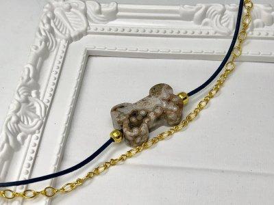 天然石 ジャスパー 犬好き チェーン&革紐 ブレスレット ゴールドパーツ