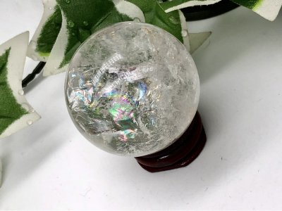 天然石 レインボー水晶 丸玉 45mm
