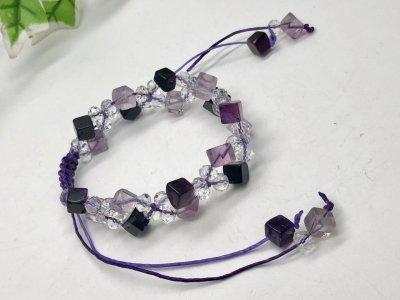 天然石 フローライト キューブ 編み込み ブレスレット パープル系