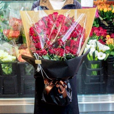 赤バラの花束 ワンサイド