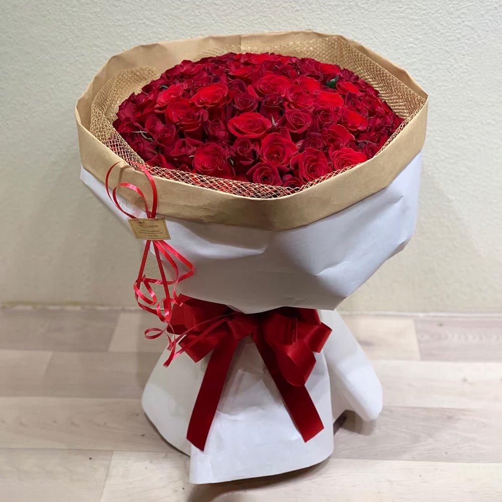 赤バラ100本の花束