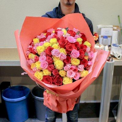 ミックスバラ100本の花束