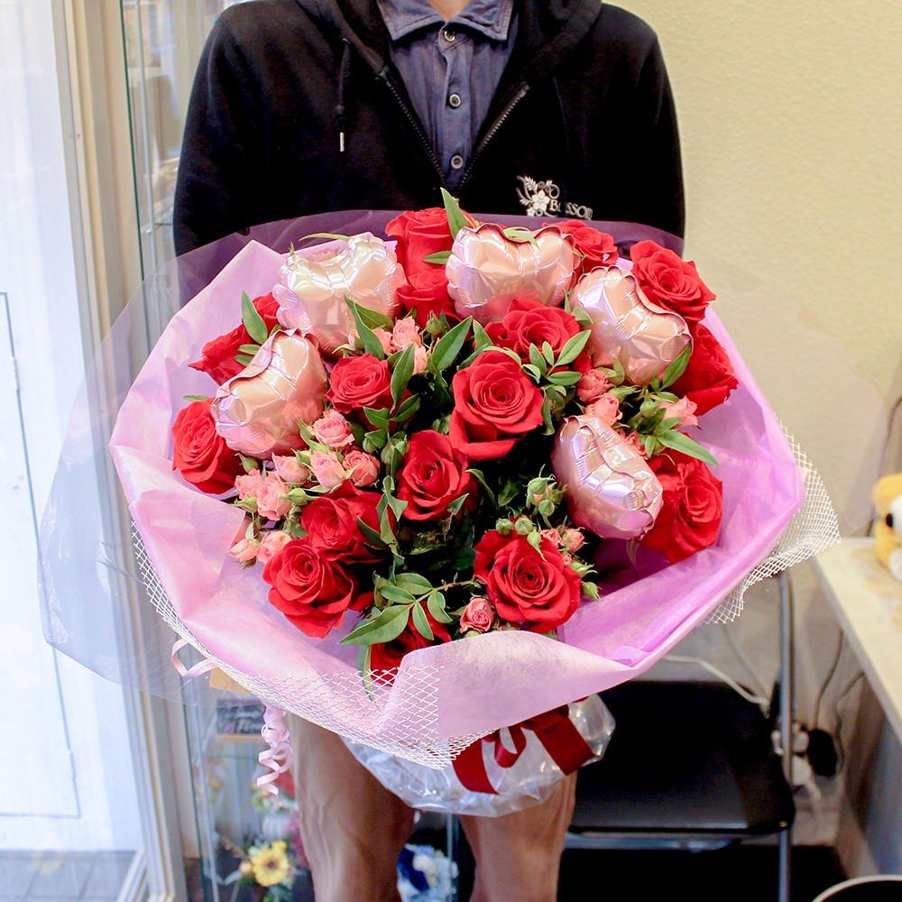 バラの花束 バルーン入り