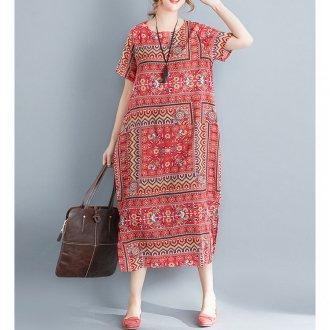 民族風柄半袖ロングワンピース☆ゆったり着られる《ミニョンイージーライフ》