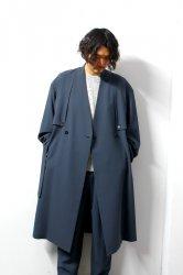 ETHOSENS(エトセンス)/No collar trench coat /Blue Gray