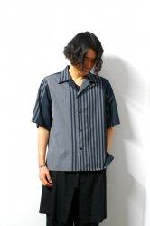 ETHOSENS(エトセンス)/Panel stripe SS shirt/Green × Charcoal Gray