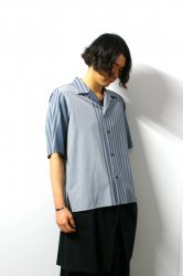 ETHOSENS(エトセンス)/Panel stripe SS shirt/Saxe Blue × Light Gray