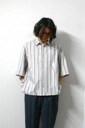 ETHOSENS(エトセンス)/Twist stripe SS shirt/Gureju × Green