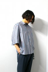 ETHOSENS(エトセンス)/Twist stripe SS shirt/ Saxe Blue × Red-Brown