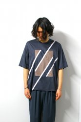 ETHOSENS(エトセンス)/Switching T-shirt/Blue Gray × Gureju