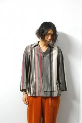 ETHOSENS(エトセンス)/Striped pullover shirt/Gray×Gureju×Red