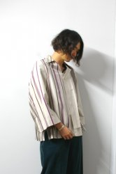 ETHOSENS(エトセンス)/Striped pullover shirt/Gureju×Brown×Purple