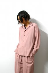 ETHOSENS(エトセンス)/Embossed open color shirt/Pink