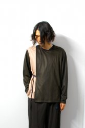 ETHOSENS(エトセンス)/By color winding pullover/Dark brown × Pink