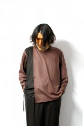 ETHOSENS(エトセンス)/By color winding pullover/Burgundy × Dark brown