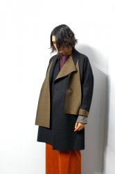 ETHOSENS(エトセンス)/Cut off muffler collar coat/Black