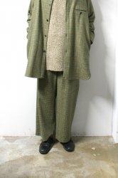 URU(ウル)/WOOL CHECK WIDE PANTS/Green