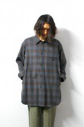 URU(ウル)/WOOL CHECK OVER SHIRTS/Gray