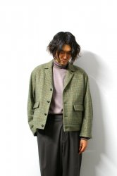 URU(ウル)/WOOL CHECK SHORT JACKET/Green