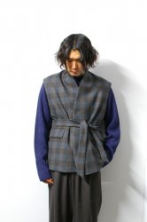 URU(ウル)/WOOL CHECK BELTED VEST/Gray