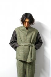 URU(ウル)/WOOL CHECK BELTED VEST/Green