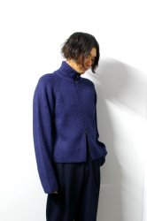 URU(ウル)/BABY ALPACA ZIP UP KNIT/D.Blue