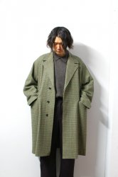 URU(ウル)/WOOL CHECK BELTED COAT/Green