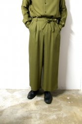 ETHOSENS(エトセンス)/Double tucked wide trousers/Khaki
