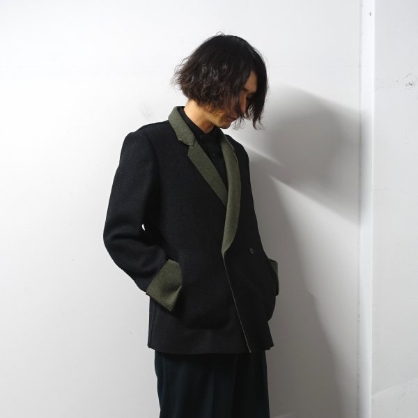 ETHOSENS(エトセンス)/Two-tone cut off jacket/Black