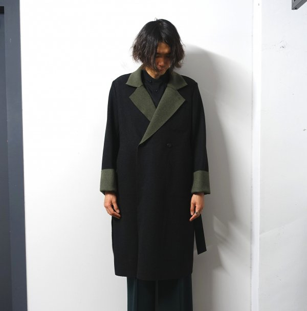 ETHOSENS(エトセンス)/Two-tone cut off coat/Black