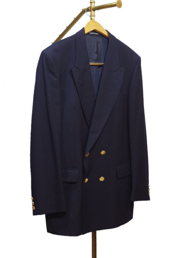 UK DAKS  Vintage Wool Navy Blazer  <img class='new_mark_img2' src='//img.shop-pro.jp/img/new/icons8.gif' style='border:none;display:inline;margin:0px;padding:0px;width:auto;' />