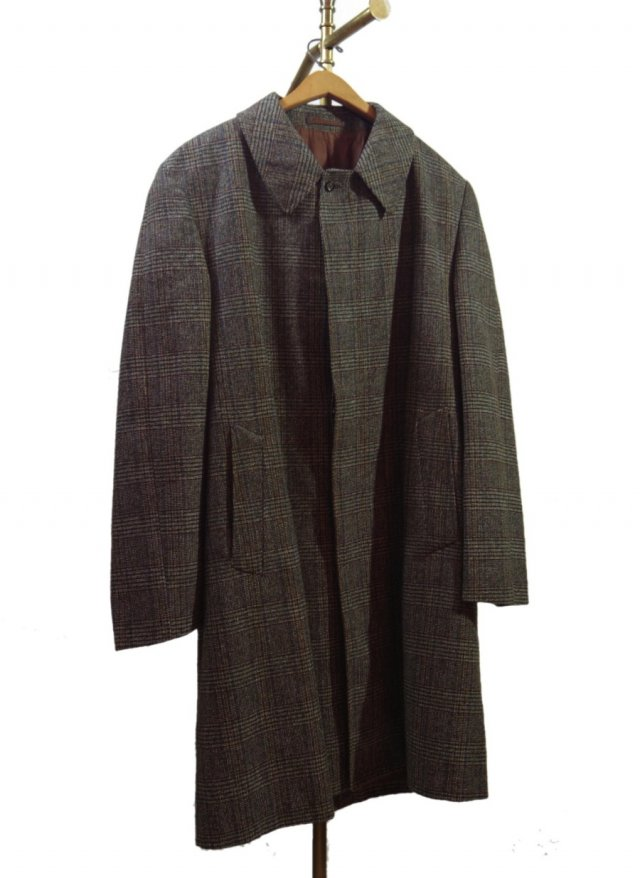 70's UK Dunn & Co. Vintage Check Tweed Balmacaan Coat<img class='new_mark_img2' src='//img.shop-pro.jp/img/new/icons8.gif' style='border:none;display:inline;margin:0px;padding:0px;width:auto;' />