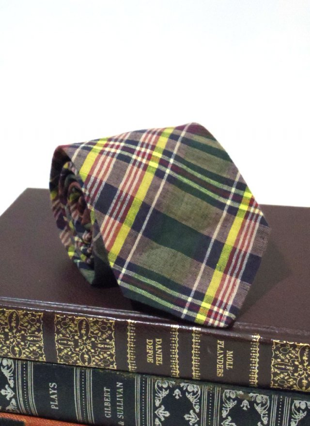 Vintage Madras Check Neck Tie rooster × sibley's<img class='new_mark_img2' src='https://img.shop-pro.jp/img/new/icons8.gif' style='border:none;display:inline;margin:0px;padding:0px;width:auto;' />