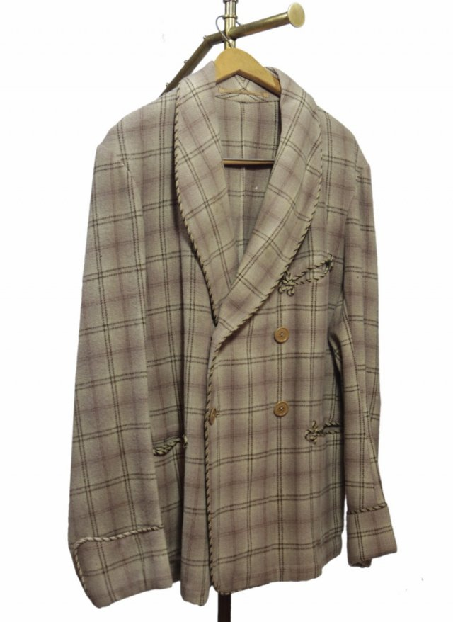 50's UK  Vintage Smoking Double Wool Jacket  #678<img class='new_mark_img2' src='https://img.shop-pro.jp/img/new/icons8.gif' style='border:none;display:inline;margin:0px;padding:0px;width:auto;' />