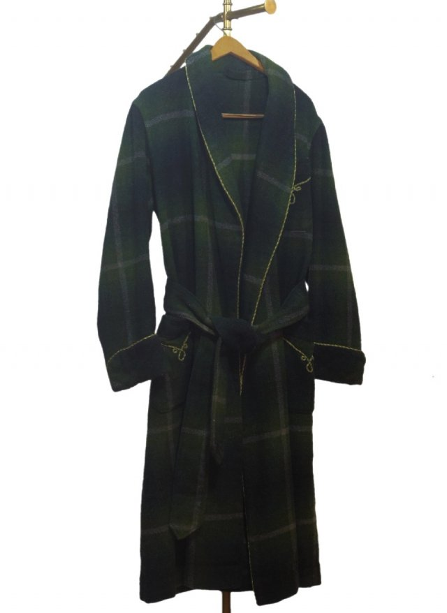 50's UK Vintage Check Smoking Wool Gown #675<img class='new_mark_img2' src='https://img.shop-pro.jp/img/new/icons8.gif' style='border:none;display:inline;margin:0px;padding:0px;width:auto;' />